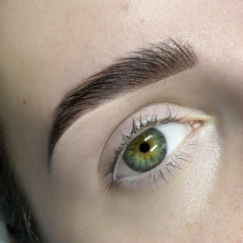 Close up of right eye with Brow Architecture and SoHenna