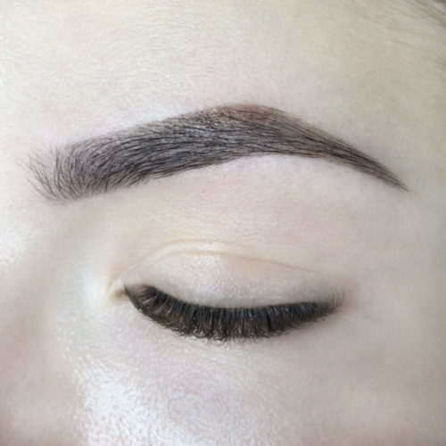 Close up of left eye with Brow Architecture and SoHenna