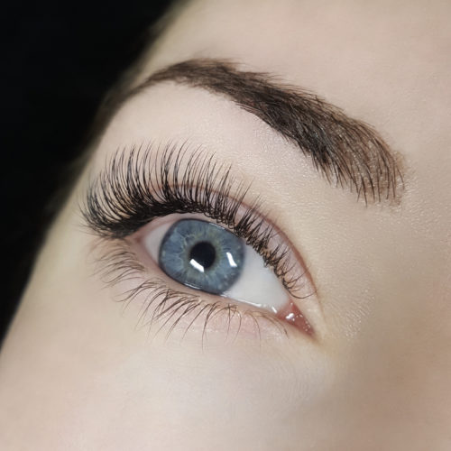 Close up of right eye with Classic Eyelash Extensions
