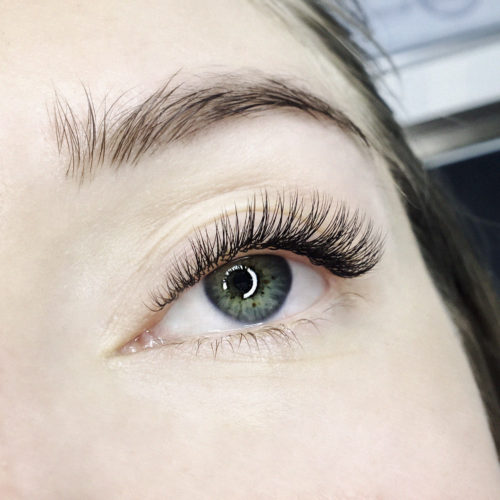 Close up of left eye with Classic Eyelash Extensions
