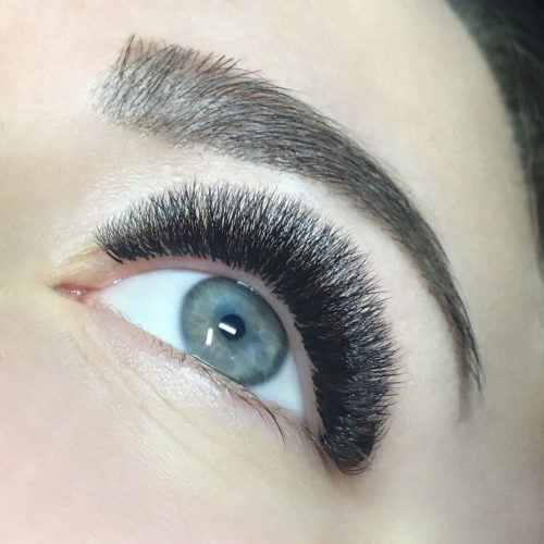 Close up of left eye with Dramatic Volume Eyelash Extensions