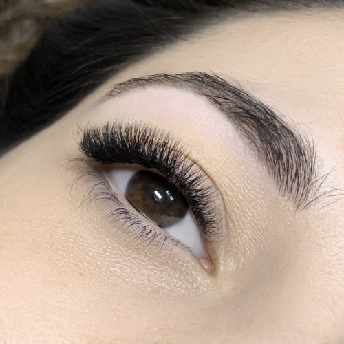 Close up of right eye with Dramatic Volume Eyelash Extensions