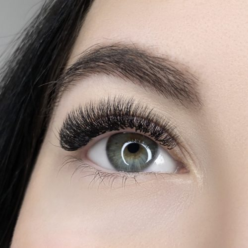 Close up of right eye with Glamorous Volume Eyelash Extensions
