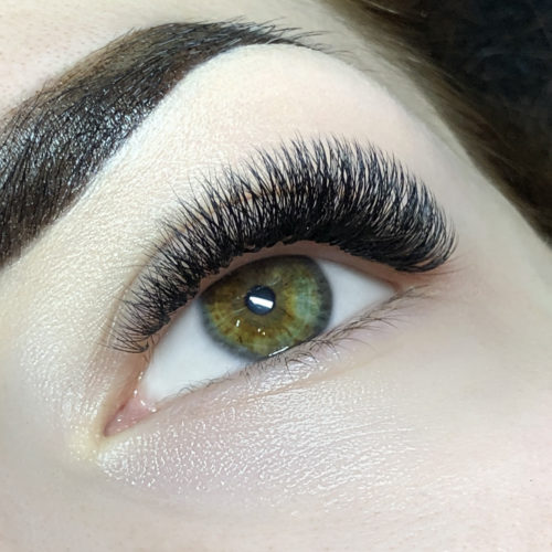 Close up of left eye with Glamorous Volume Eyelash Extensions
