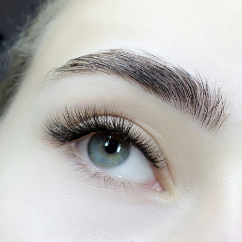 Close up of right eye with Natural Volume Eyelash Extensions