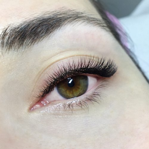 Close up of left eye with Natural Volume Eyelash Extensions