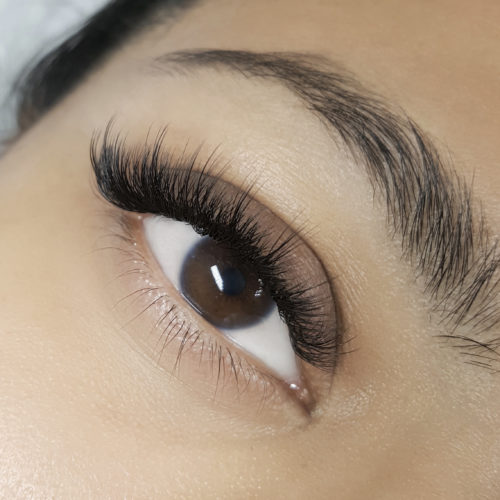 Close up of right eye with Wispy Glamorous Eyelash Extensions