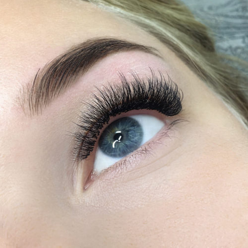 Close up of left eye with Wispy Glamorous Eyelash Extensions