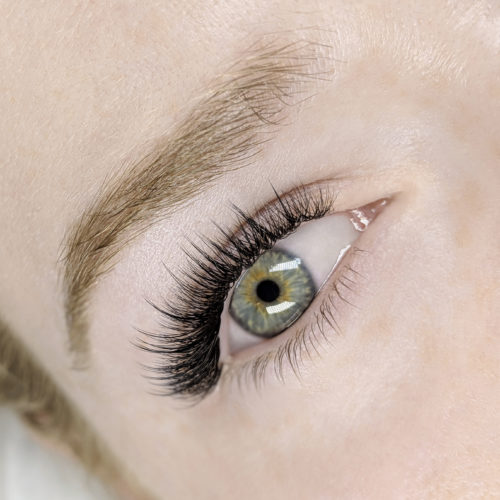 Close up of right eye with Wispy Natural Eyelash Extensions