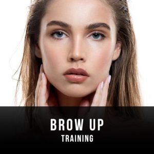 Female model with beautiful brows looking at the camera