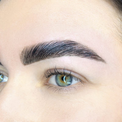 Close up of left eye with Brow Up