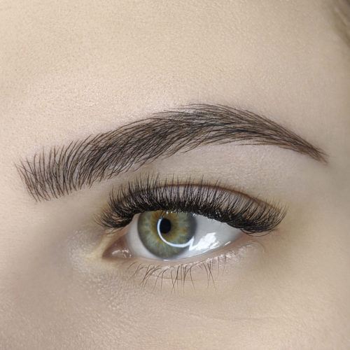 Close up of left eye with Microblading