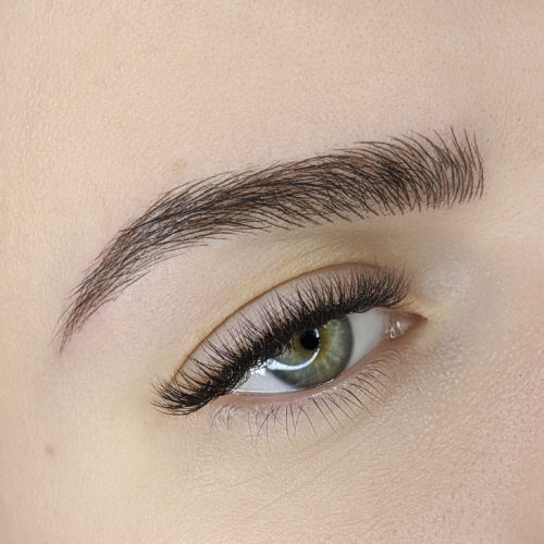 Close up of right eye with Microblading
